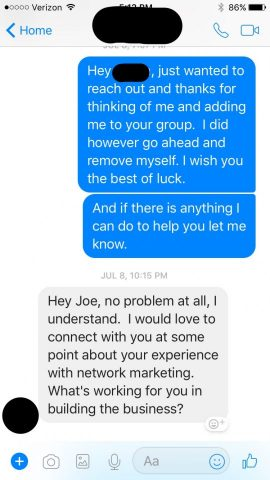 My response to being added to a group without permission.
